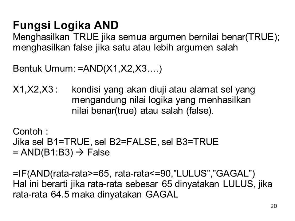 20 Fungsi Logika AND Menghasilkan TRUE jika semua argumen bernilai benar(TRUE); menghasilkan false jika satu atau lebih argumen salah Bentuk Umum: =AN