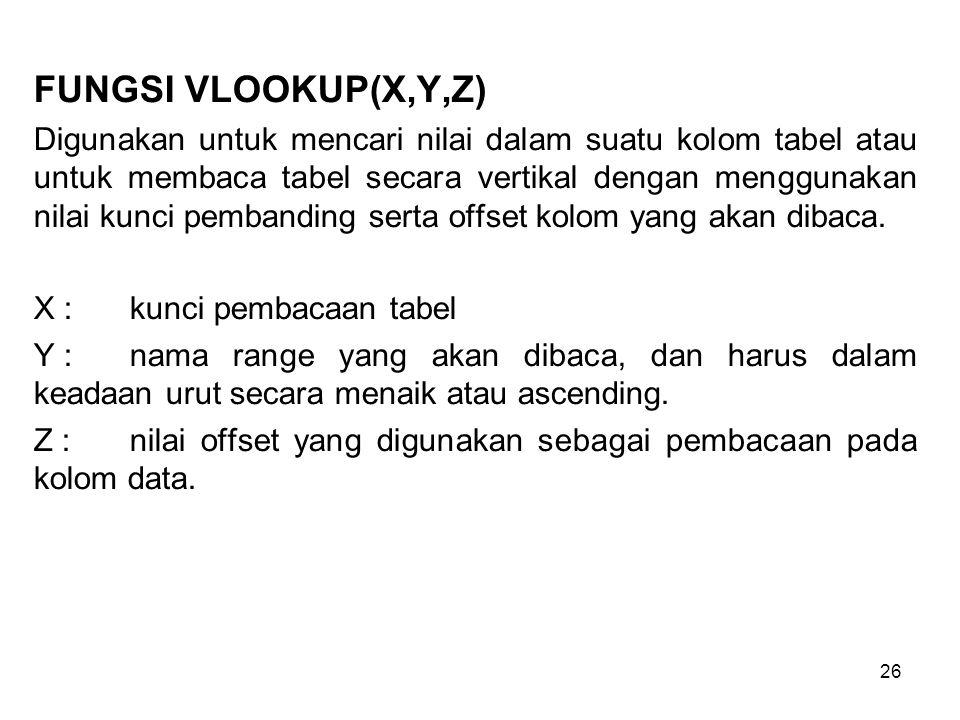 26 FUNGSI VLOOKUP(X,Y,Z) Digunakan untuk mencari nilai dalam suatu kolom tabel atau untuk membaca tabel secara vertikal dengan menggunakan nilai kunci