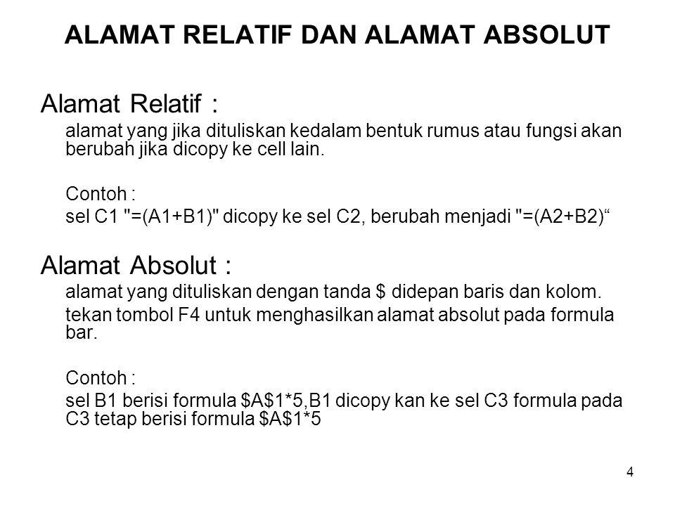 4 ALAMAT RELATIF DAN ALAMAT ABSOLUT Alamat Relatif : alamat yang jika dituliskan kedalam bentuk rumus atau fungsi akan berubah jika dicopy ke cell lai