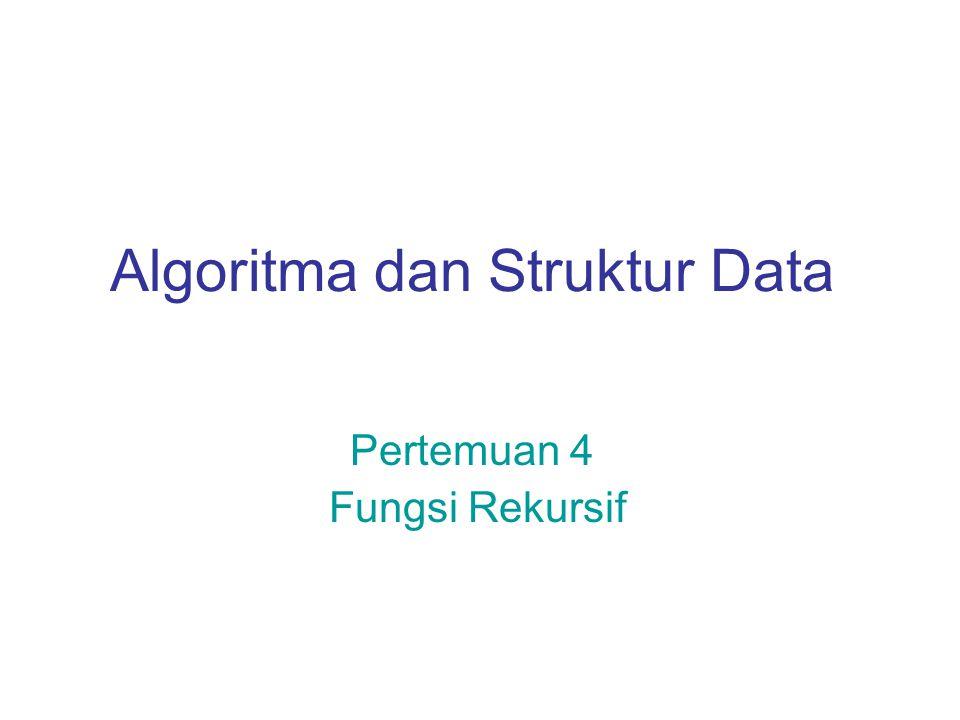 Algoritma dan Struktur Data Pertemuan 4 Fungsi Rekursif