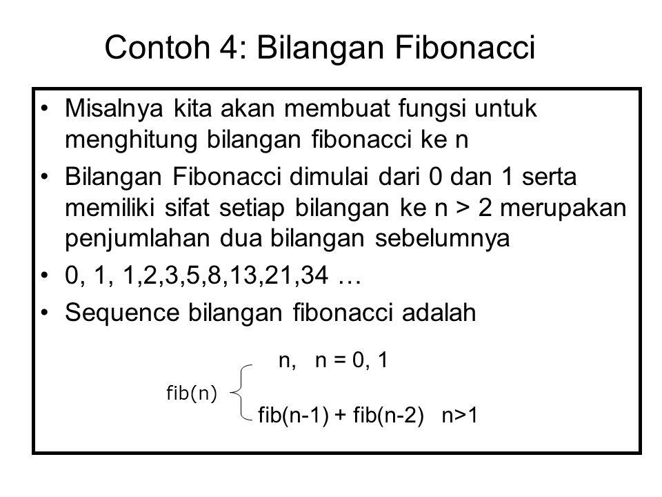 Misalnya kita akan membuat fungsi untuk menghitung bilangan fibonacci ke n Bilangan Fibonacci dimulai dari 0 dan 1 serta memiliki sifat setiap bilanga