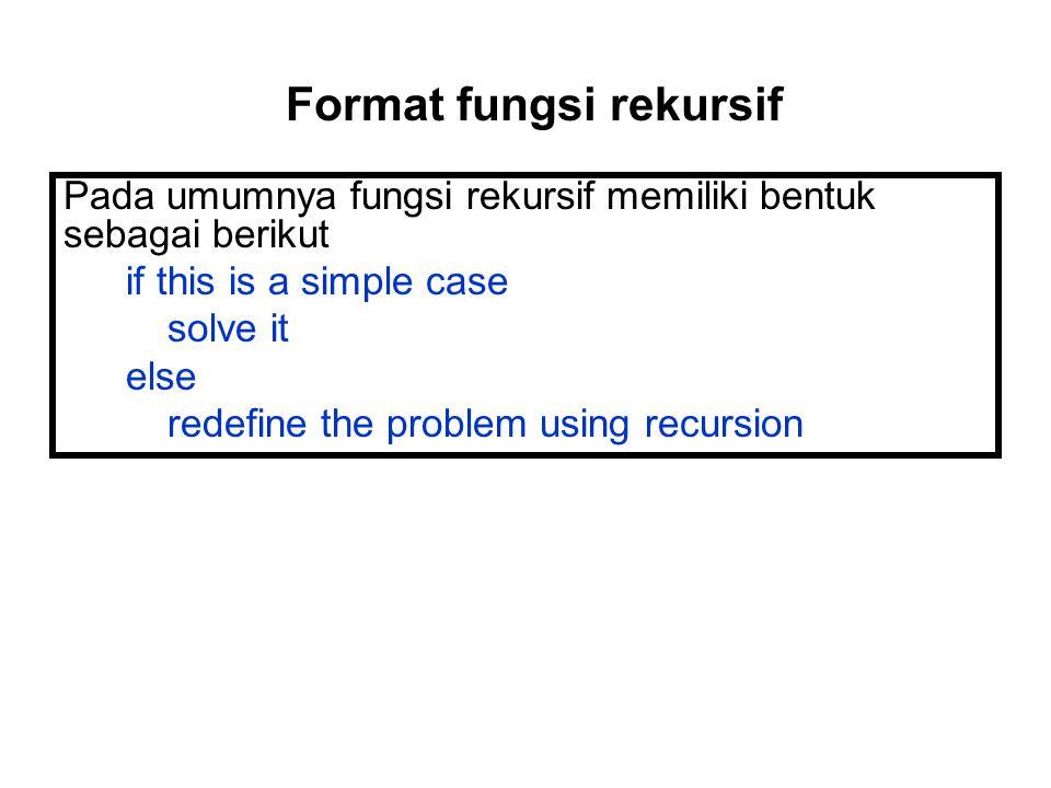 Pada umumnya fungsi rekursif memiliki bentuk sebagai berikut if this is a simple case solve it else redefine the problem using recursion Format fungsi