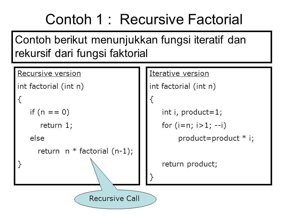 Contoh 1 : Recursive Factorial Contoh berikut menunjukkan fungsi iteratif dan rekursif dari fungsi faktorial Recursive version int factorial (int n) {