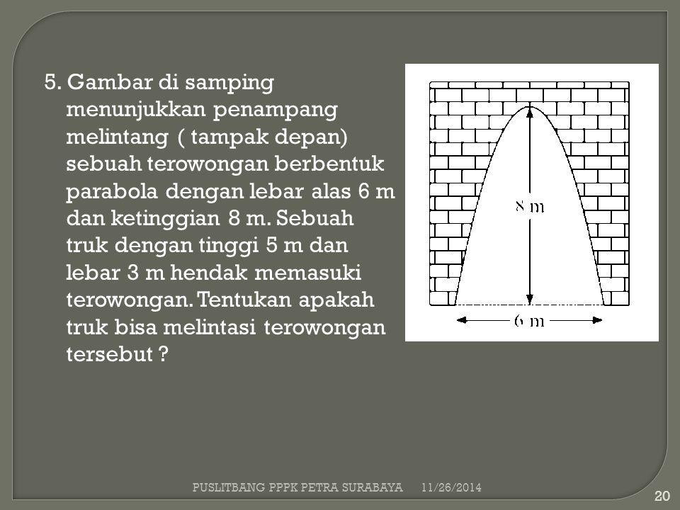 PUSLITBANG PPPK PETRA SURABAYA11/26/2014 20 5. Gambar di samping menunjukkan penampang melintang ( tampak depan) sebuah terowongan berbentuk parabola