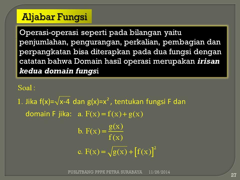 irisan kedua domain fungs Operasi-operasi seperti pada bilangan yaitu penjumlahan, pengurangan, perkalian, pembagian dan perpangkatan bisa diterapkan
