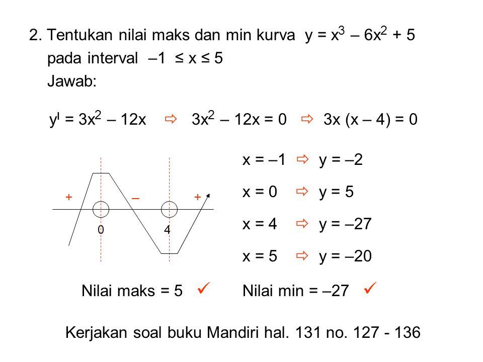 2. Tentukan nilai maks dan min kurva y = x 3 – 6x 2 + 5 pada interval –1 ≤ x ≤ 5 Jawab: y I = 3x 2 – 12x  3x 2 – 12x = 0  3x (x – 4) = 0 04 – ++ x =