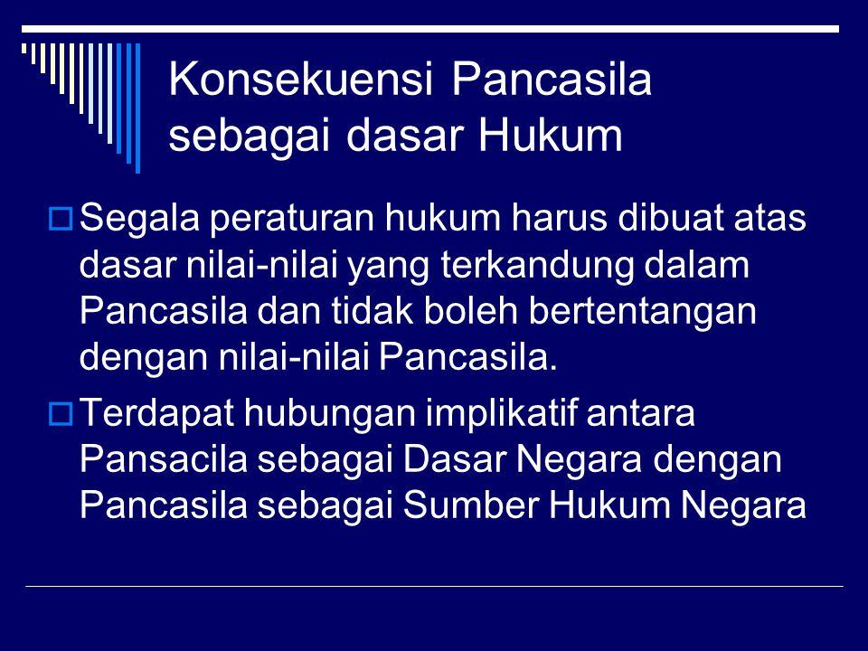Konsekuensi Pancasila sebagai dasar Hukum  Segala peraturan hukum harus dibuat atas dasar nilai-nilai yang terkandung dalam Pancasila dan tidak boleh bertentangan dengan nilai-nilai Pancasila.