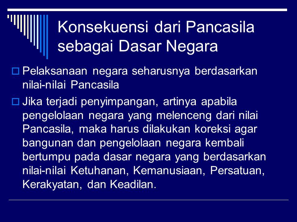 Pancasila sebagai sumber Hukum  Negara modern dijalankan atas dasar hukum, disebut juga dengan negara hukum (rechtstsaat)  Negara hukum (rechtsstaat) bertumpu kepada nilai-nilai yang menjadi dasar berdirinya negara  Dasar bagi Indonesia sebagai negara hukum adalah Pancasila, artinya nilai-nilai Ketuhanan, Kemanusiaan, Persatuan, Kerakyatan, dan Keadilan menjadi sumber hukum bagi seluruh tatanan hukum di Indonesia