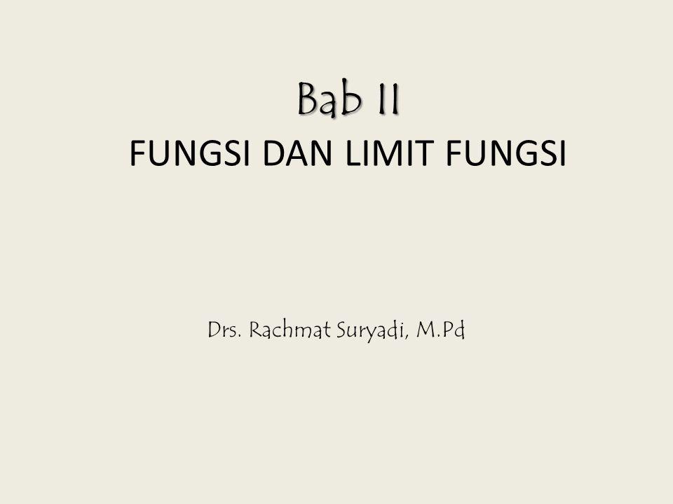 Bab II Bab II FUNGSI DAN LIMIT FUNGSI Drs. Rachmat Suryadi, M.Pd