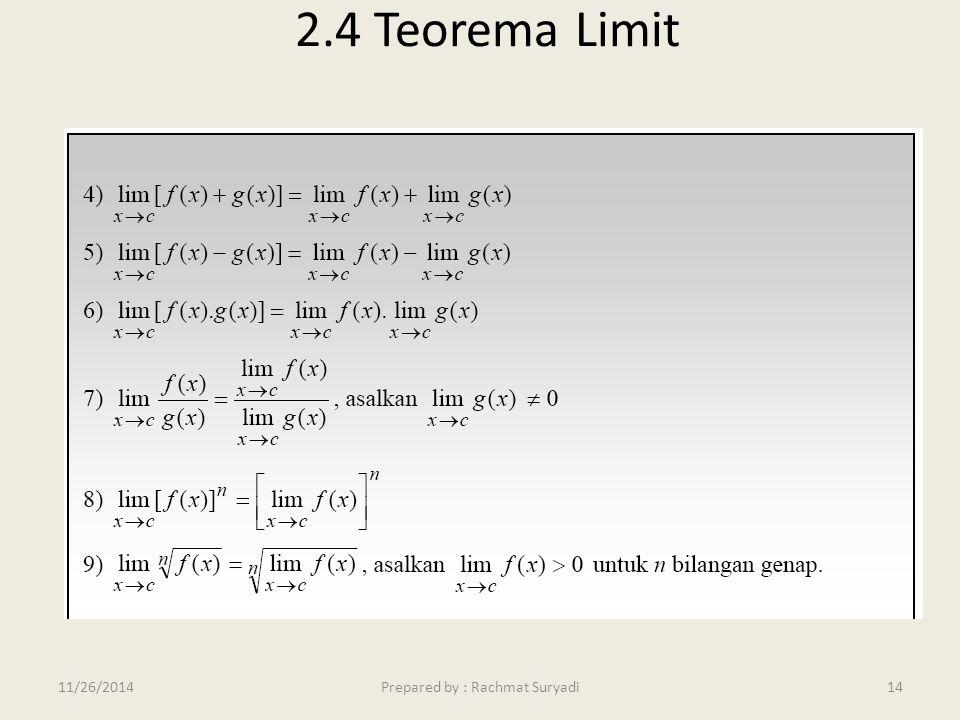 2.4 Teorema Limit 14Prepared by : Rachmat Suryadi11/26/2014