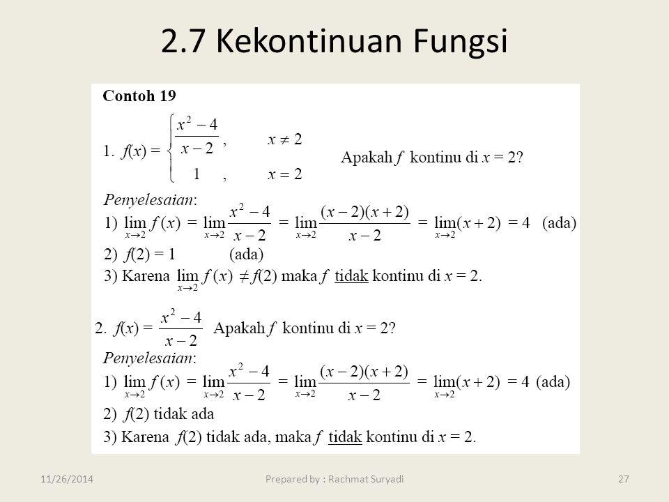 2.7 Kekontinuan Fungsi Prepared by : Rachmat Suryadi2711/26/2014