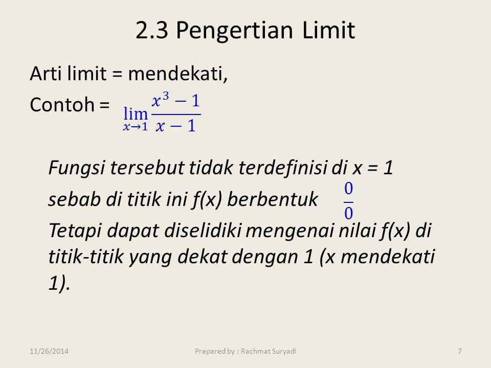 2.3 Pengertian Limit Arti limit = mendekati, Contoh = Fungsi tersebut tidak terdefinisi di x = 1 sebab di titik ini f(x) berbentuk Tetapi dapat diseli