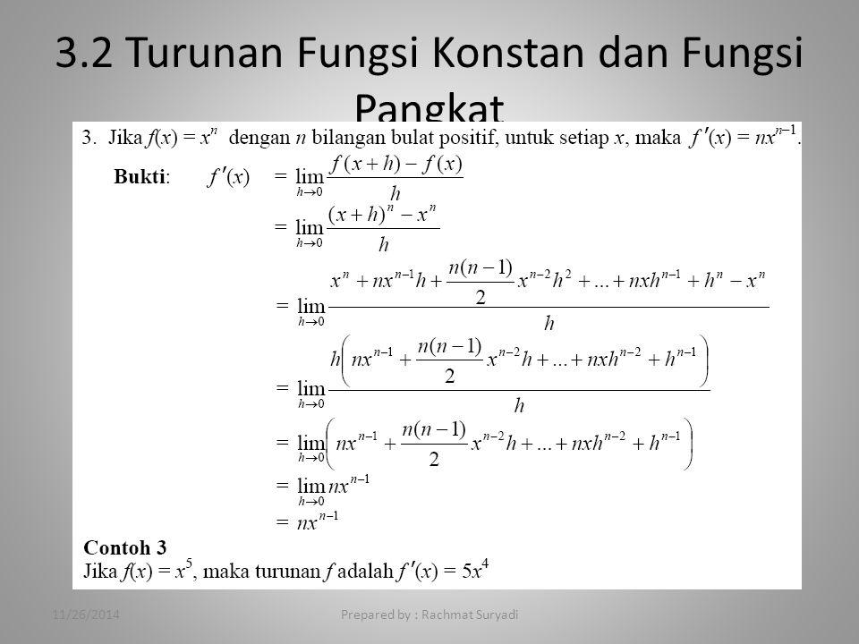 3.2 Turunan Fungsi Konstan dan Fungsi Pangkat 11/26/2014Prepared by : Rachmat Suryadi
