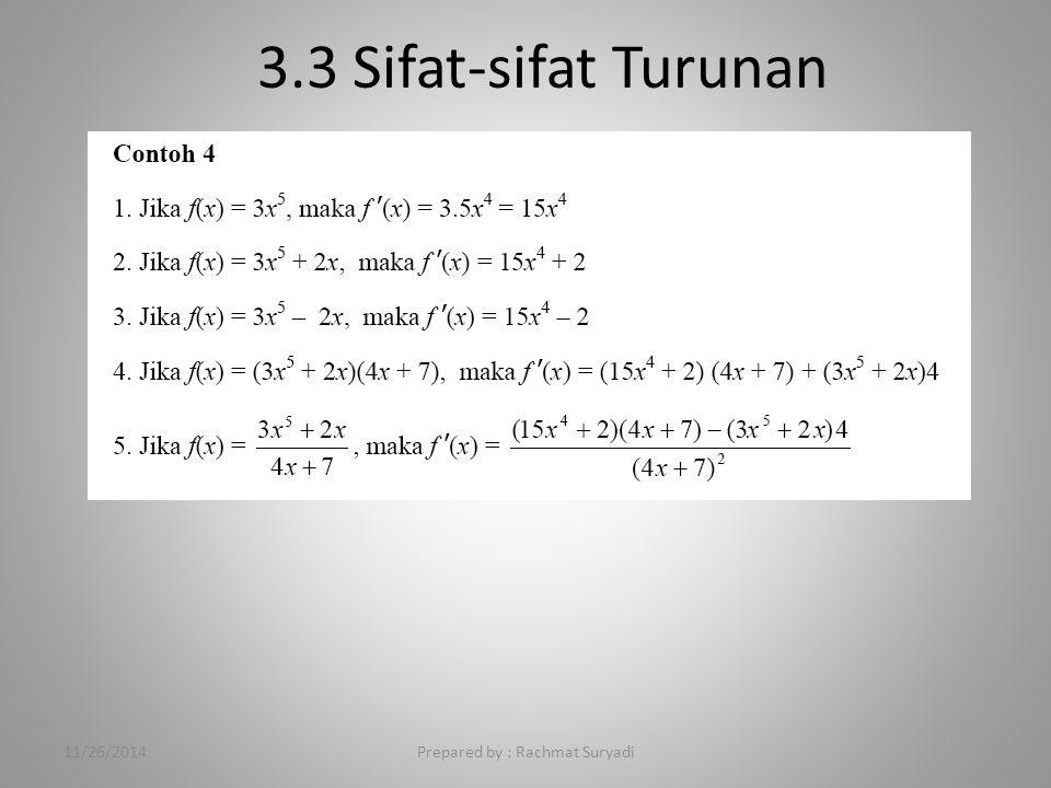 3.3 Sifat-sifat Turunan 11/26/2014Prepared by : Rachmat Suryadi