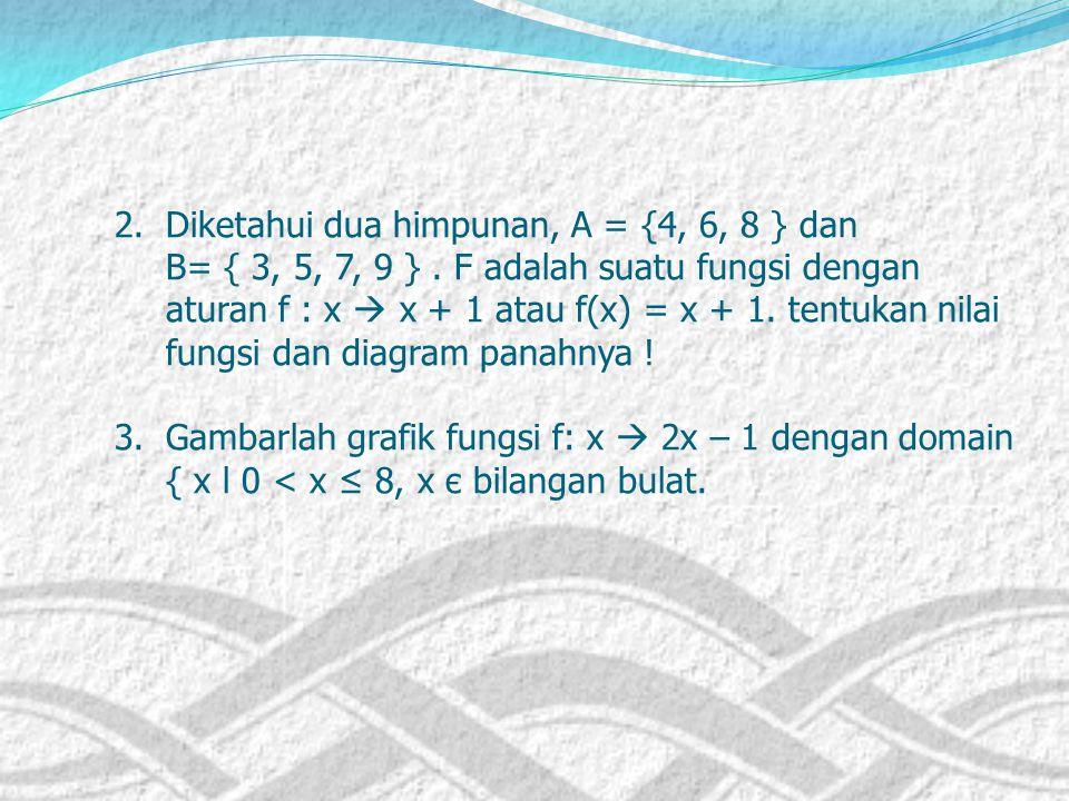"""SOAL-SOAL LATIHAN 1. Diketahui A = {1, 2, 3, 4, 5, 6}; B = {1, 2, 3,..., 12} dan relasi dari A ke B adalah relasi """"setengah dari"""". Nyatakan relasi ter"""