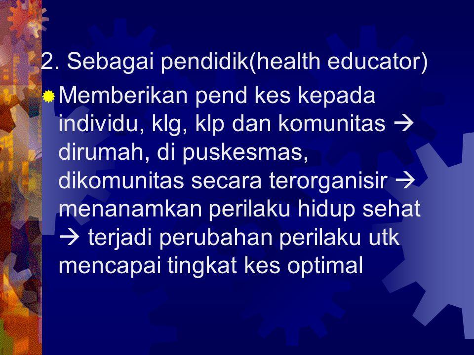 3.Sebagai pengamat kes (health monitor ).