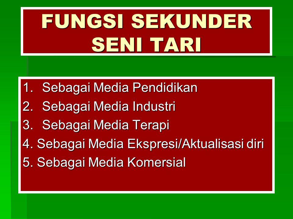 FUNGSI SEKUNDER SENI TARI 1.Sebagai Media Pendidikan 2.Sebagai Media Industri 3.Sebagai Media Terapi 4. Sebagai Media Ekspresi/Aktualisasi diri 5. Seb