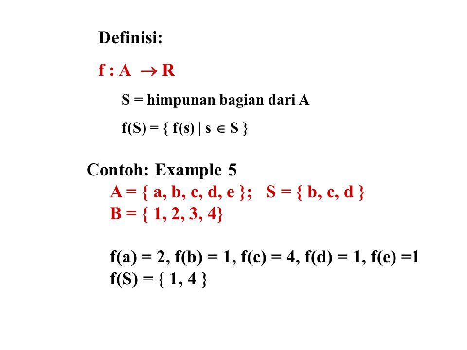 Definisi: f : A  R S = himpunan bagian dari A f(S) = { f(s) | s  S } Contoh: Example 5 A = { a, b, c, d, e }; S = { b, c, d } B = { 1, 2, 3, 4} f(a