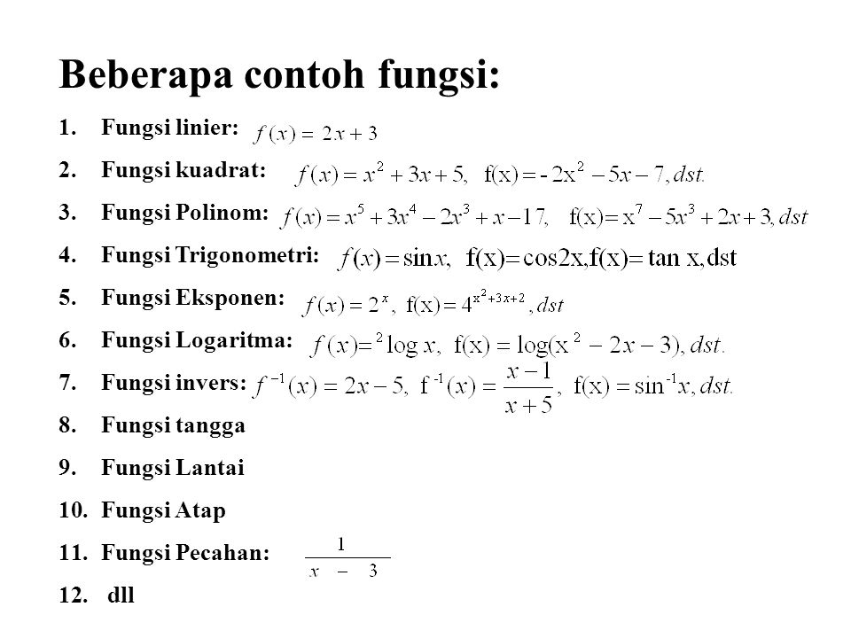 Beberapa contoh fungsi: 1.Fungsi linier: 2.Fungsi kuadrat: 3.Fungsi Polinom: 4.Fungsi Trigonometri: 5.Fungsi Eksponen: 6.Fungsi Logaritma: 7.Fungsi in