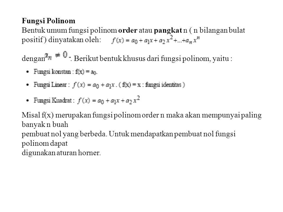 Fungsi Polinom Bentuk umum fungsi polinom order atau pangkat n ( n bilangan bulat positif ) dinyatakan oleh: dengan. Berikut bentuk khusus dari fungsi