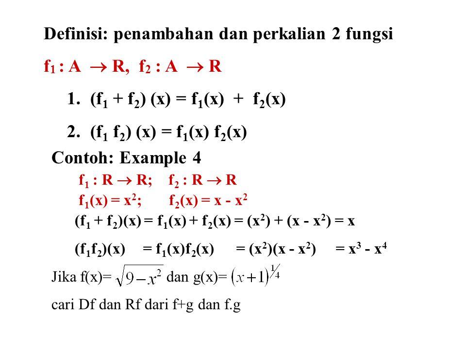 Definisi: penambahan dan perkalian 2 fungsi f 1 : A  R, f 2 : A  R 1.(f 1 + f 2 ) (x) = f 1 (x) + f 2 (x) 2.(f 1 f 2 ) (x) = f 1 (x) f 2 (x) Conto