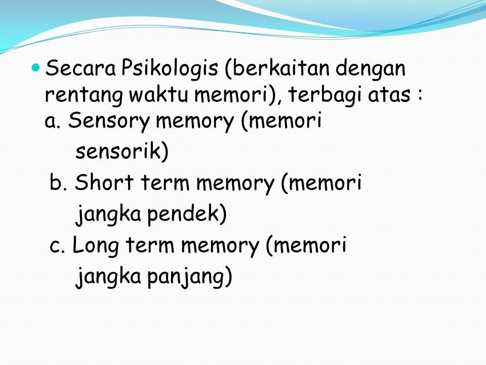 Secara Psikologis (berkaitan dengan rentang waktu memori), terbagi atas : a.