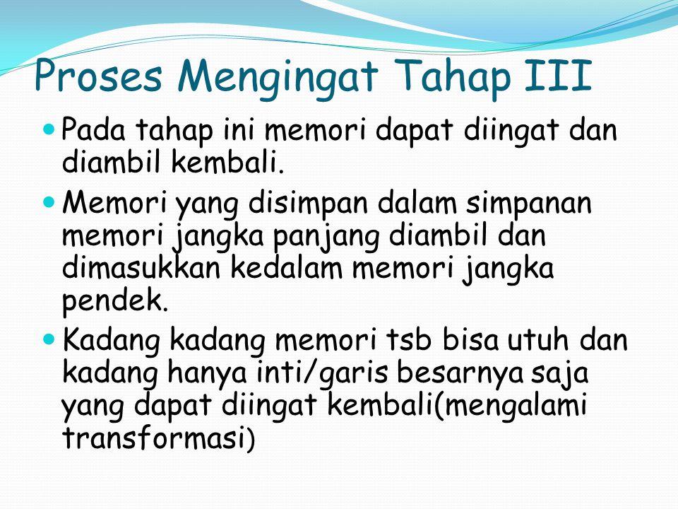 Proses Mengingat Tahap III Pada tahap ini memori dapat diingat dan diambil kembali.