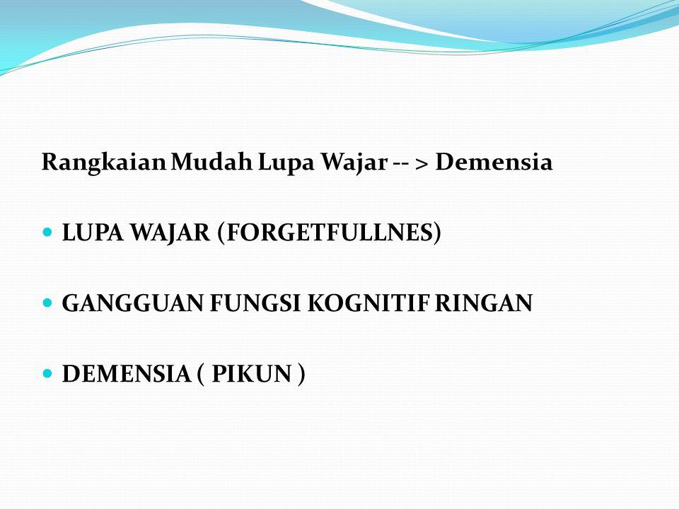 Rangkaian Mudah Lupa Wajar -- > Demensia LUPA WAJAR (FORGETFULLNES) GANGGUAN FUNGSI KOGNITIF RINGAN DEMENSIA ( PIKUN )