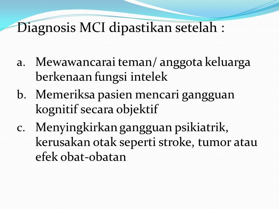 Diagnosis MCI dipastikan setelah : a.