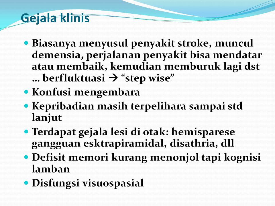 Demensia Vaskuler Disebabkan penyakit pembuluh darah serebral (ump : stroke) Ditemukan infark multipel di otak 15-25% dari semua demensia onset pada u