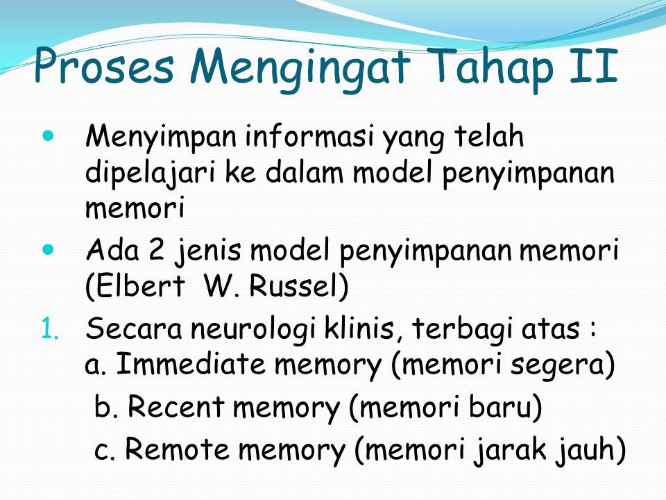 Proses Mengingat Tahap I Ada 2 cara memperoleh informasi: 1. Dengan sengaja (intentional learning) menggunakan strategi memori ttt 2. Secara kebetulan