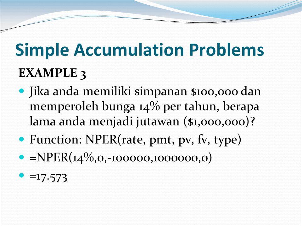 Simple Accumulation Problems EXAMPLE 3 Jika anda memiliki simpanan $100,000 dan memperoleh bunga 14% per tahun, berapa lama anda menjadi jutawan ($1,0