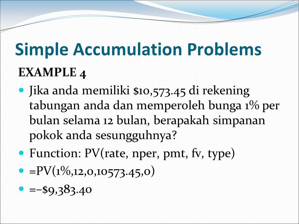 Simple Accumulation Problems EXAMPLE 4 Jika anda memiliki $10,573.45 di rekening tabungan anda dan memperoleh bunga 1% per bulan selama 12 bulan, bera
