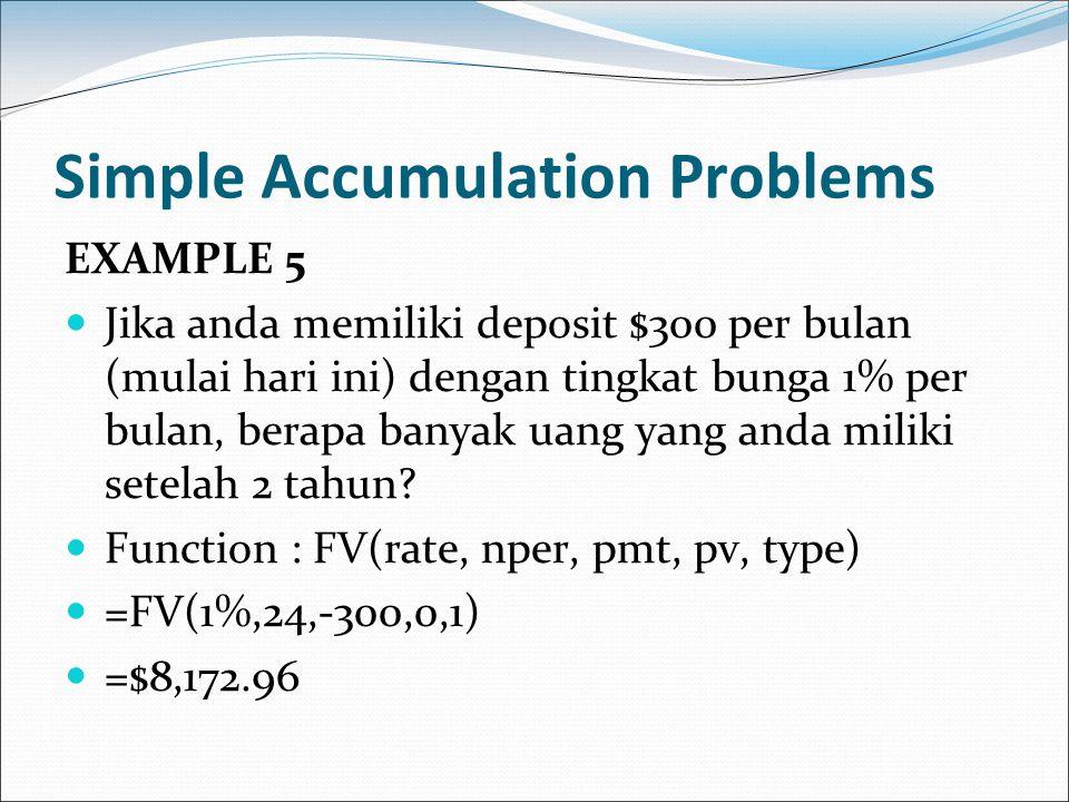 Simple Accumulation Problems EXAMPLE 5 Jika anda memiliki deposit $300 per bulan (mulai hari ini) dengan tingkat bunga 1% per bulan, berapa banyak uan