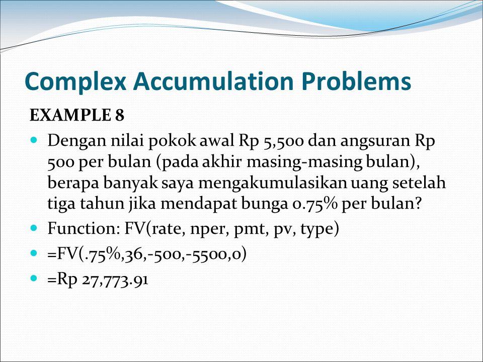Complex Accumulation Problems EXAMPLE 8 Dengan nilai pokok awal Rp 5,500 dan angsuran Rp 500 per bulan (pada akhir masing-masing bulan), berapa banyak
