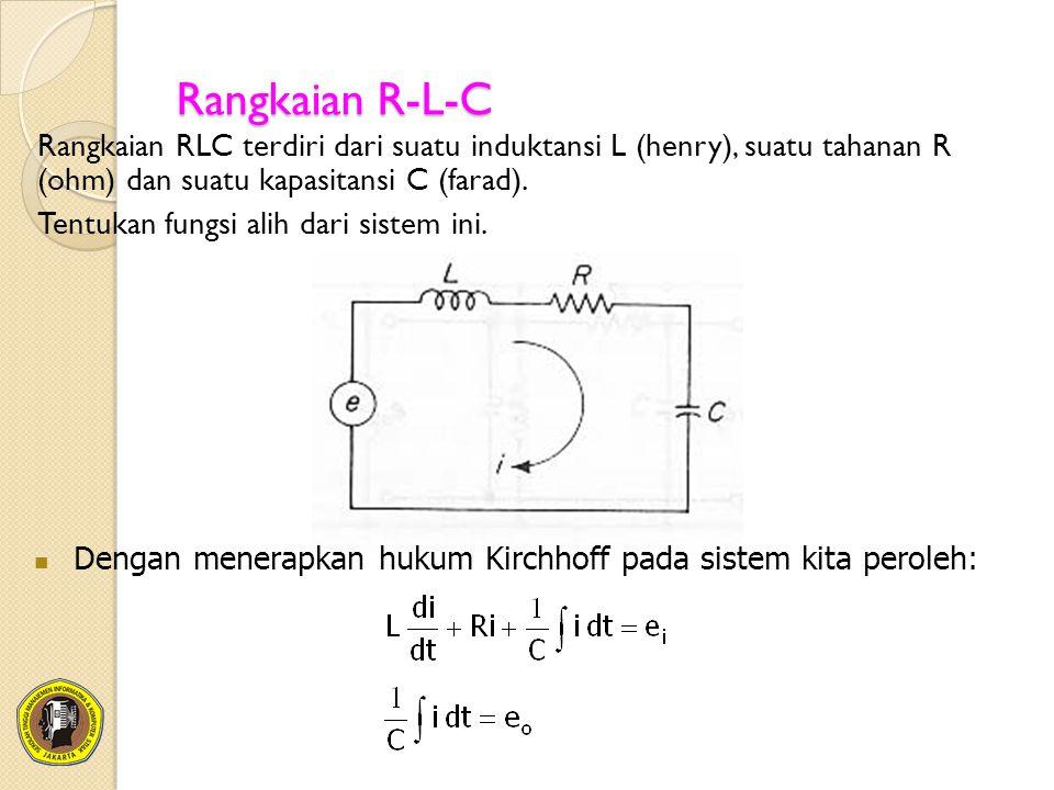 Rangkaian R-L-C Rangkaian RLC terdiri dari suatu induktansi L (henry), suatu tahanan R (ohm) dan suatu kapasitansi C (farad). Tentukan fungsi alih dar