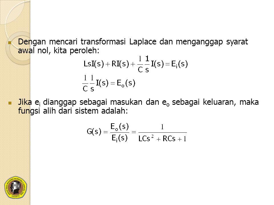 Dengan mencari transformasi Laplace dan menganggap syarat awal nol, kita peroleh: Jika e i dianggap sebagai masukan dan e o sebagai keluaran, maka fungsi alih dari sistem adalah: