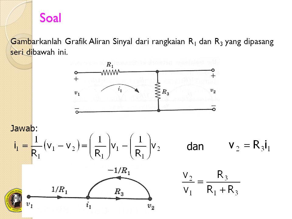 Soal Gambarkanlah Grafik Aliran Sinyal dari rangkaian R 1 dan R 3 yang dipasang seri dibawah ini. Jawab: dan