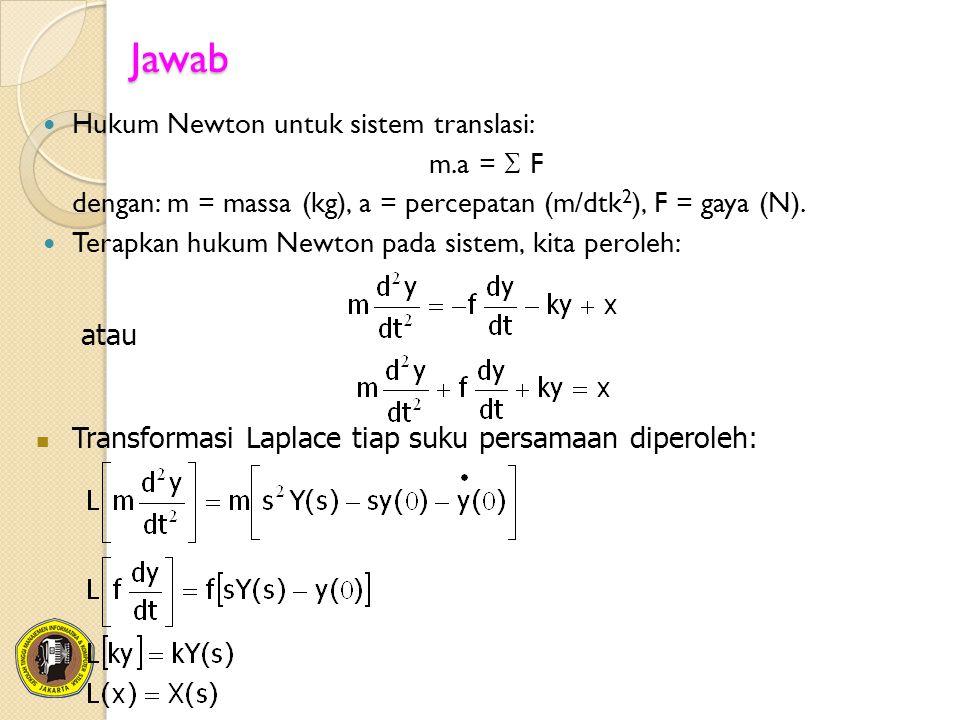 Jawab Hukum Newton untuk sistem translasi: m.a =  F dengan: m = massa (kg), a = percepatan (m/dtk 2 ), F = gaya (N). Terapkan hukum Newton pada siste