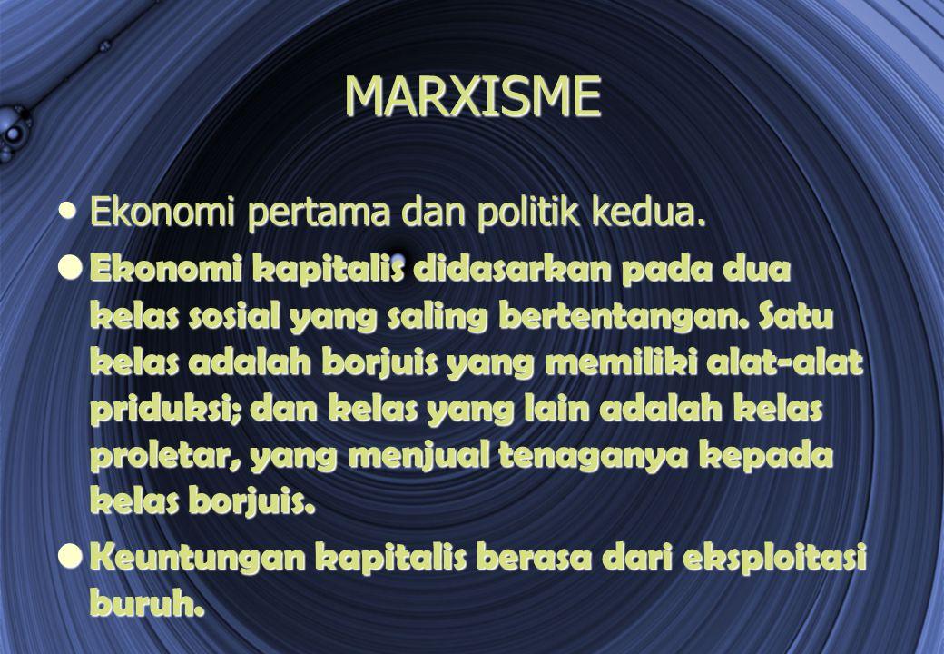 MARXISME Ekonomi pertama dan politik kedua. Ekonomi pertama dan politik kedua. Ekonomi kapitalis didasarkan pada dua kelas sosial yang saling bertenta