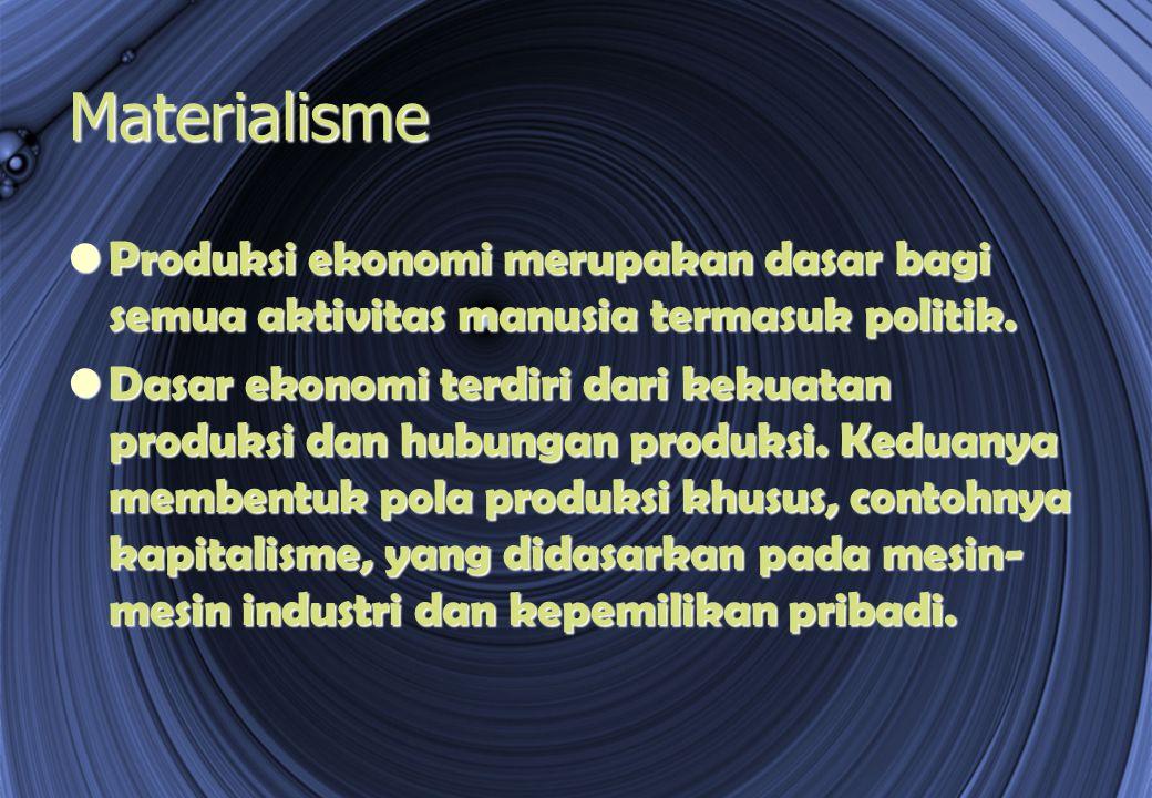 Materialisme Produksi ekonomi merupakan dasar bagi semua aktivitas manusia termasuk politik. Produksi ekonomi merupakan dasar bagi semua aktivitas man