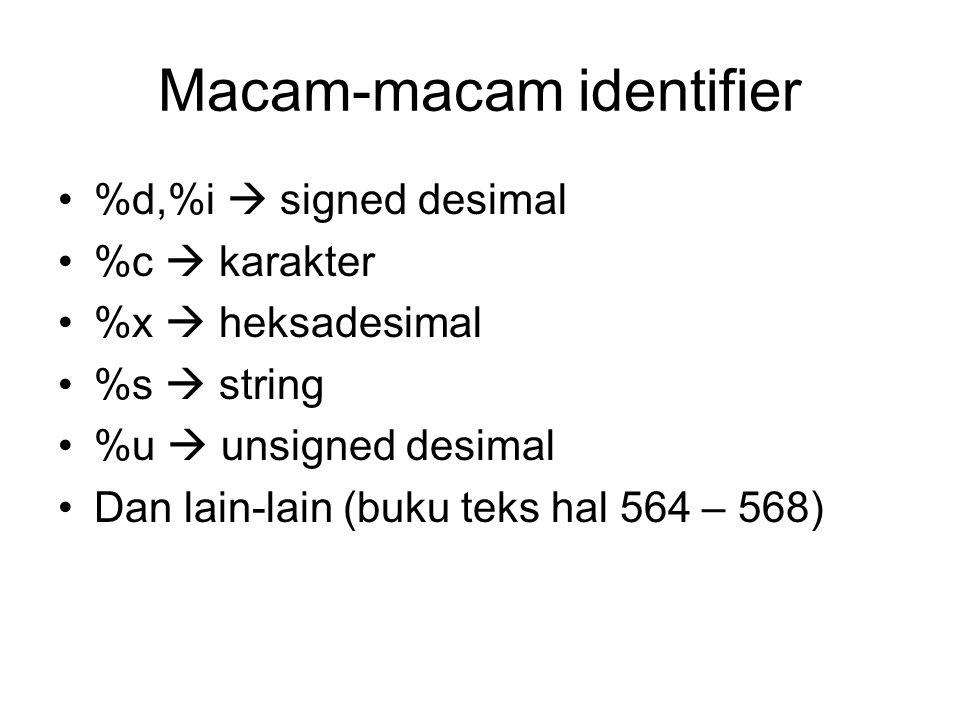 Macam-macam identifier %d,%i  signed desimal %c  karakter %x  heksadesimal %s  string %u  unsigned desimal Dan lain-lain (buku teks hal 564 – 568)