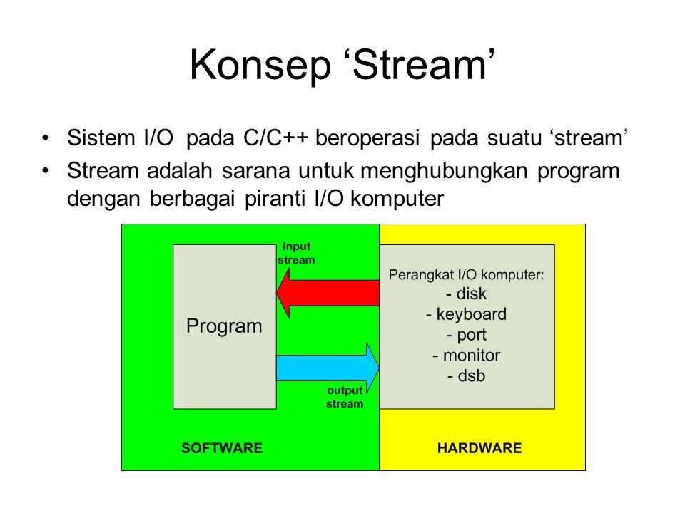 Konsep 'Stream' Sistem I/O pada C/C++ beroperasi pada suatu 'stream' Stream adalah sarana untuk menghubungkan program dengan berbagai piranti I/O komputer