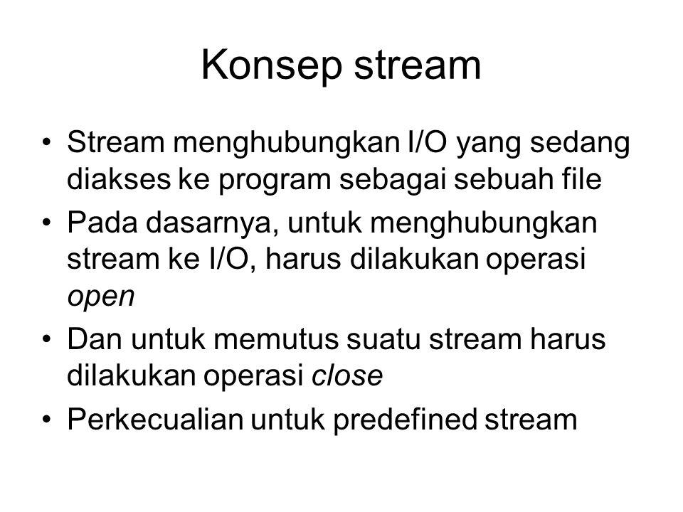 Konsep stream Stream menghubungkan I/O yang sedang diakses ke program sebagai sebuah file Pada dasarnya, untuk menghubungkan stream ke I/O, harus dilakukan operasi open Dan untuk memutus suatu stream harus dilakukan operasi close Perkecualian untuk predefined stream