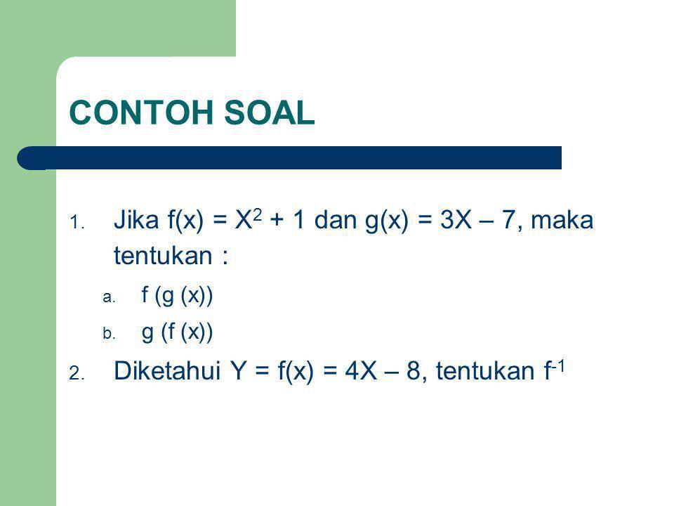 CONTOH SOAL 1. Jika f(x) = X 2 + 1 dan g(x) = 3X – 7, maka tentukan : a. f (g (x)) b. g (f (x)) 2. Diketahui Y = f(x) = 4X – 8, tentukan f -1
