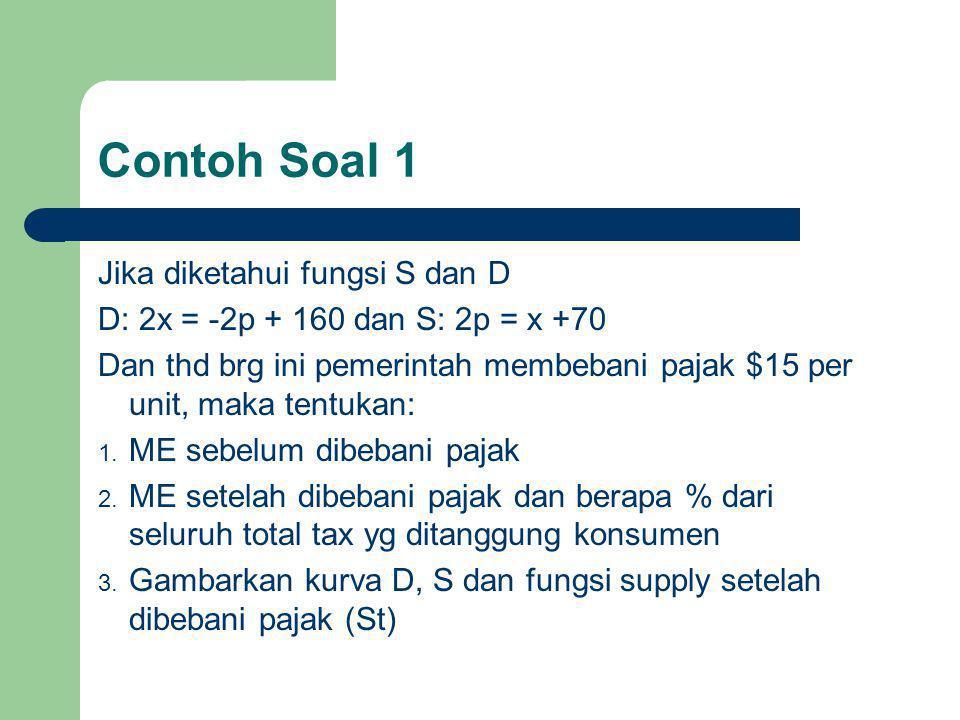 Contoh Soal 1 Jika diketahui fungsi S dan D D: 2x = -2p + 160 dan S: 2p = x +70 Dan thd brg ini pemerintah membebani pajak $15 per unit, maka tentukan