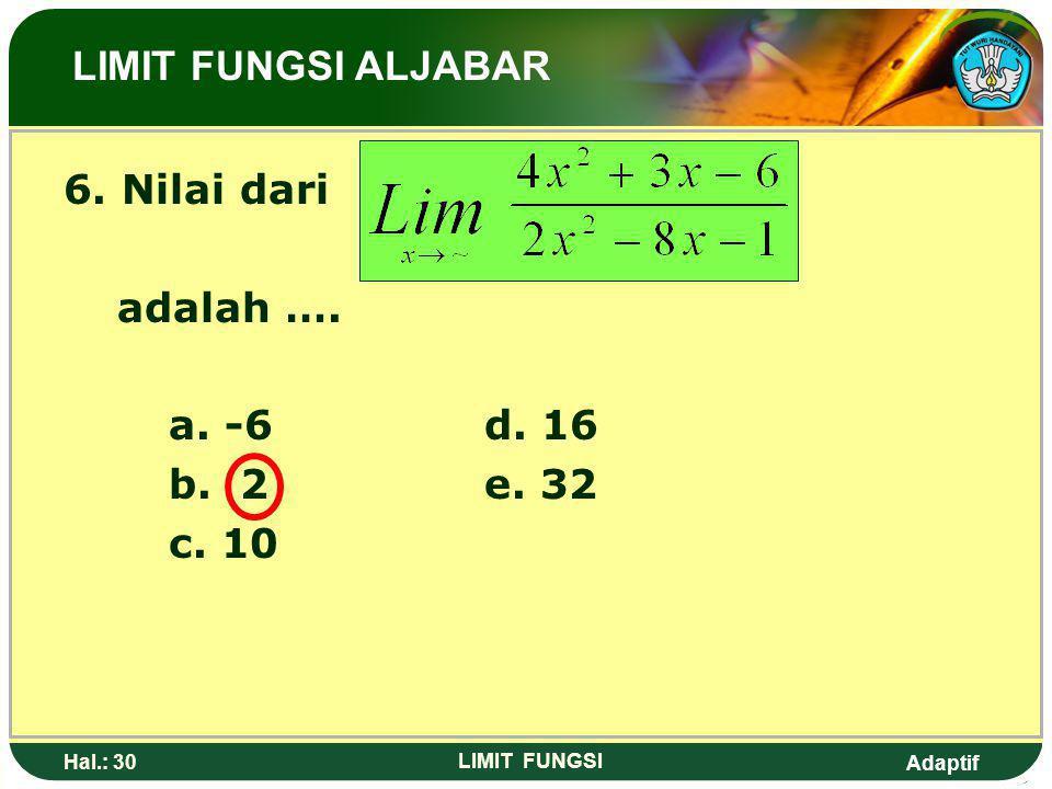 Adaptif Hal.: 29 LIMIT FUNGSI Pembahasan 2: Perhatikan bahwa pangkat diatas sama dengan pangkat bawah sehingga p = q (p dibagi q) LIMIT FUNGSI ALBAJAR