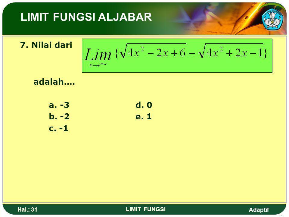 Adaptif Hal.: 30 LIMIT FUNGSI 6. Nilai dari adalah …. a. -6d. 16 b. 2e. 32 c. 10 LIMIT FUNGSI ALJABAR