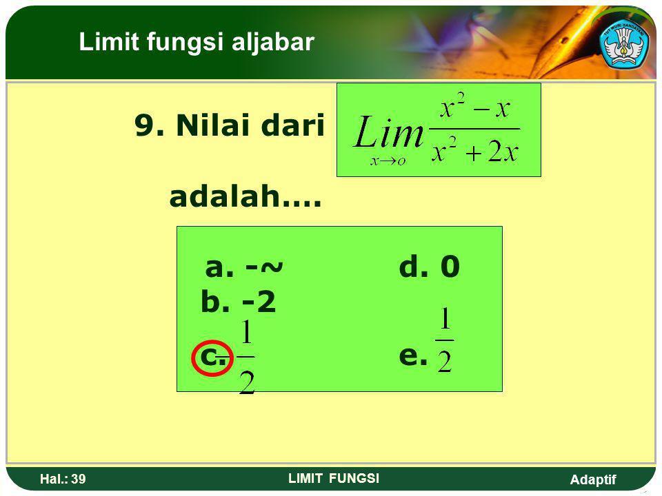 Adaptif Hal.: 38 LIMIT FUNGSI Pembahasan: Limit fungsi aljabar