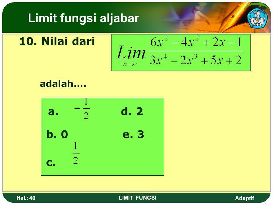 Adaptif Hal.: 39 LIMIT FUNGSI 9. Nilai dari adalah…. a. -~d. 0 b. -2 c. e. Limit fungsi aljabar